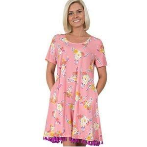 NWT Simply Southern Pink Flower Steer Swing Dress